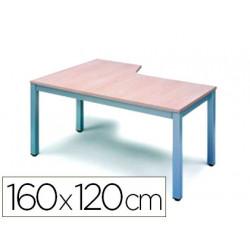 Mesa oficina rocada serie executive forma en l derecha 160x120 cm acabado a