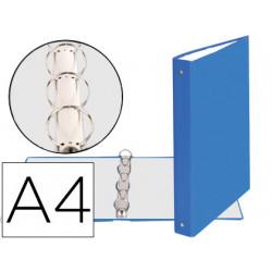 Carpeta de 4 anillas 30mm redondas exacompta din a4 carton forrado azul cla