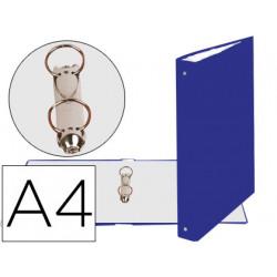 Carpeta de 2 anillas 30mm redondas exacompta din a4 carton forrado azul
