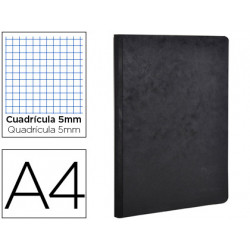 Libreta agebag tapa cartulina lomo cosido cuadro 5 mm 96 hojas color negro