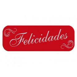 Etiqueta arguval roja felicidades rollo de 250 etiquetas