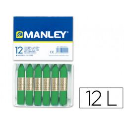 Lapices cera manley unicolor verde primavera nº 25 caja de 12