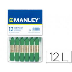 Lapices cera manley unicolor verde musgo nº 56 caja de 12