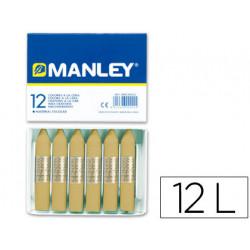 Lapices cera manley unicolor tierra sombra natural nº 67 caja de 12