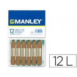 Lapices cera manley unicolor tierra sombra tostado nº 68 caja de 12