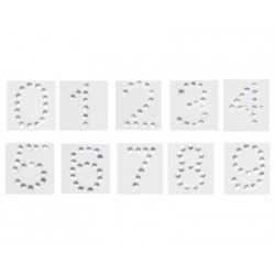 Numero adhesivo individuale diamante 2 cm altura blister de 25 unidades