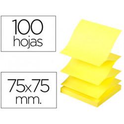 Bloc de notas adhesivas quita y pon qconnect 75x75 mm amarillo neon zigza
