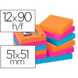 Bloc de notas adhesivas quita y pon postit super sticky 51x51 mm 90 hojas