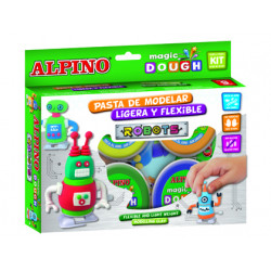 Pasta alpino para modelar magic dough robots caja de 4 colores de 40 gr