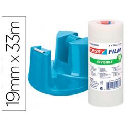 Portarrollo sobremesa tesa plastico easy azul para rollo de 33m promo 6 cin