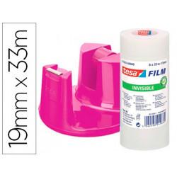 Portarrollo sobremesa tesa plastico easy rosa para rollo de 33m promo 6 cin