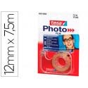 Cinta adhesiva doble cara foto tesa film 75 m x 12 mm con portarrollo