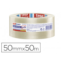 Cinta adhesiva tesapack transparente monofilamentos 50 m x 50 mm