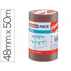 Cinta adhesiva tesa polipropileno marron 48 m x 50 mm para embalaje pack de