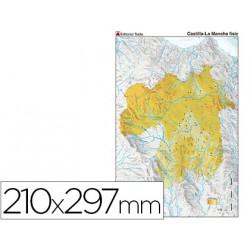 Mapa mudo color din a4 castillala mancha fisico
