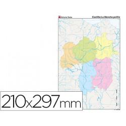 Mapa mudo color din a4 castillala mancha politico
