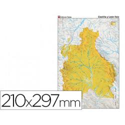 Mapa mudo color din a4 castillaleon fisico