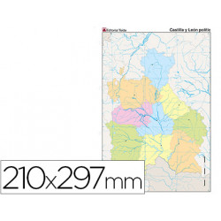 Mapa mudo color din a4 castillaleon politico