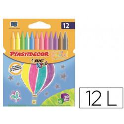 Lapices cera plastidecor caja de 12 colores pastel y metalico