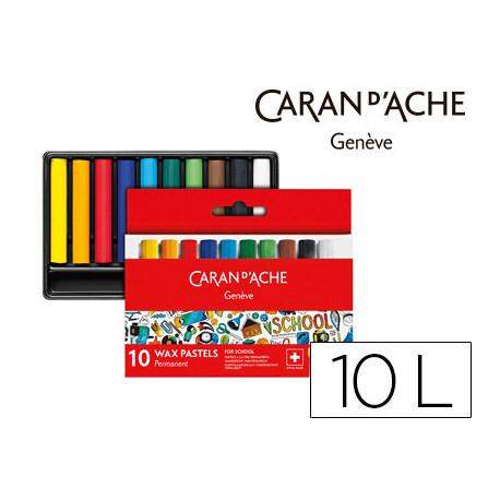 Lapices cera caran dache linea escolar permanente caja carton de 10 color