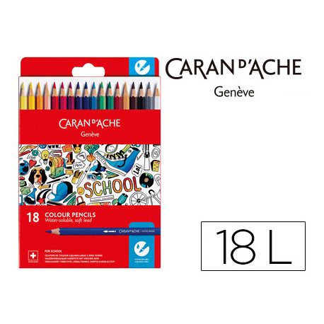 Lapiz caran dache linea escolar acuarelable fsc caja carton de 18 colores