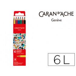 Lapiz caran dache linea escolar acuarelable fsc caja carton de 6 colores