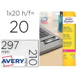 Etiqueta adhesiva avery poliester plata 210x297 mm para impresora laser pac