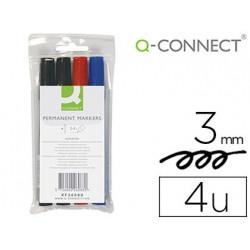 Rotulador qconnect marcador permanente estuche de 4 colores surtidos punta