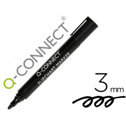 Rotulador qconnect marcador para bloc congreso negro punta redonda 30 mm