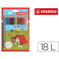 Lapices de colores stabilo trio slim caja de 18 colores