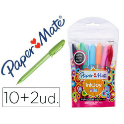 Boligrafo paper mate inkjoy 100 mini punta media trazo 1 mm pack 10 + 2 uni