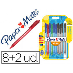 Boligrafo paper mate inkjoy 100 retractil punta media trazo 1 mm pack 8 + 2