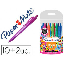 Boligrafo paper mate inkjoy 100 mini retractil punta media trazo 1 mm pack