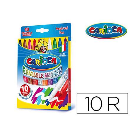 Rotulador carioca magic borrable caja de 10 colores
