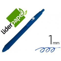 Boligrafo liderpapel gummy touch retractil 10 mm tinta azul