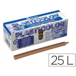 Lapices cera jovi plasticolor unicolor marron claro caja de 25 unidades