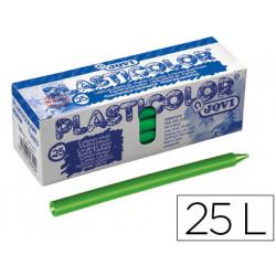 Lapices cera jovi plasticolor unicolor verde claro caja de 25 unidades