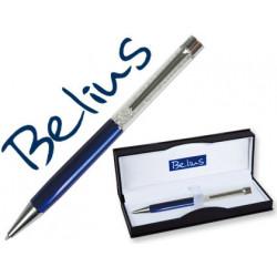 Boligrafo belius granada con cristales azul en estuche