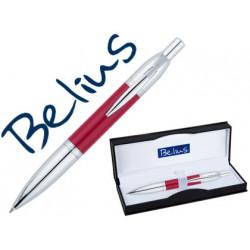 Boligrafo belius perpignan lacado rojo con adornos cromados en estuche