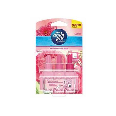 Ambientador ambi pur 3 volution delicadas flores rosa recambio 21 ml