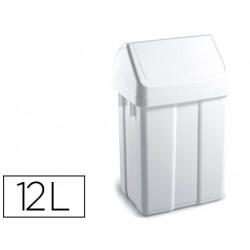 Papelera contenedor tts plastico con tapadera max 12 litros blanca 400x230x