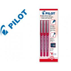 Rotulador pilot punta aguja v5 rojo 05 mm blister de 3 unidadesm