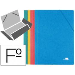 Carpeta liderpapel gomas folio 3 solapas carton simil prespan colores surti