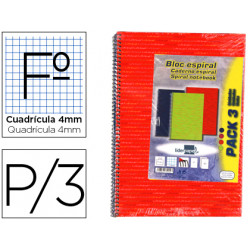 Cuaderno espiral liderpapel folio 80h cuadro 4mm tforrada liderpapel pack d