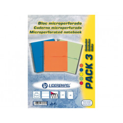 Cuaderno espiral liderpapel microperforado a4 80h horizontal 1 colores 4 ta
