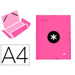 Carpeta liderpapel antartik gomas a4 3 solapas carton forrado color rosa
