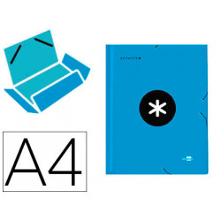 Carpeta liderpapel antartik gomas a4 3 solapas carton forrado color azul