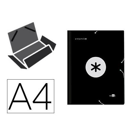Carpeta liderpapel antartik gomas a4 3 solapas carton forrado color negro
