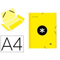 Carpeta liderpapel antartik gomas a4 3 solapas carton forrado color amarill