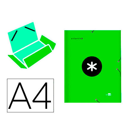 Carpeta liderpapel antartik gomas a4 3 solapas carton forrado color verde